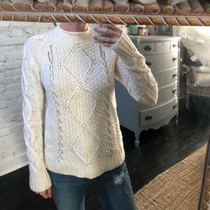 J Crew Beaded Cable Knit Sweater